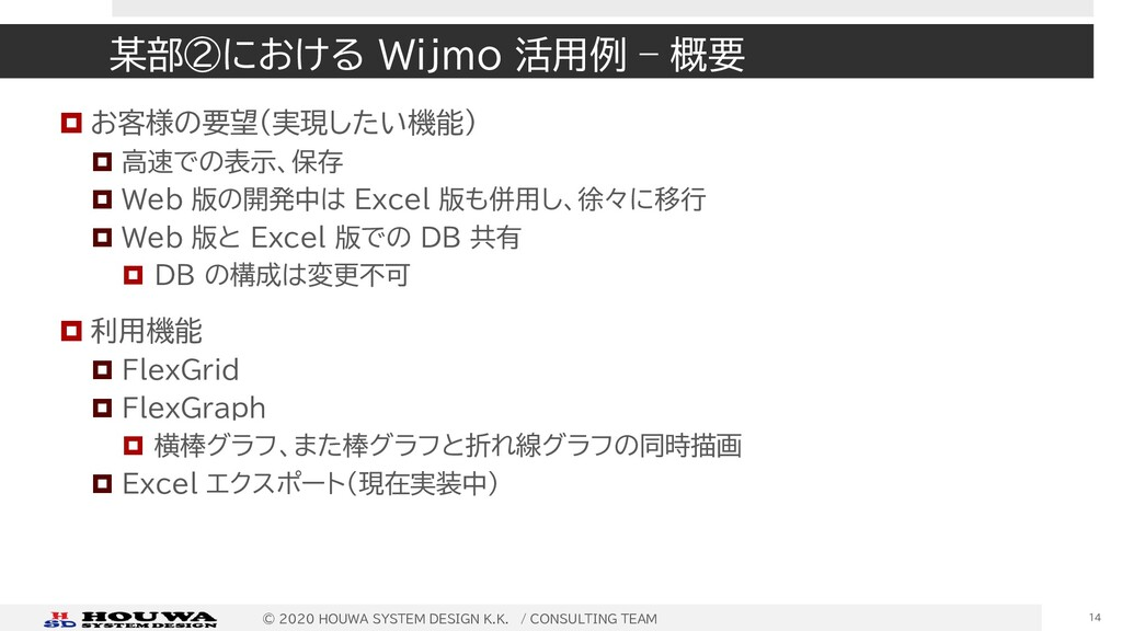 某部②における Wijmo 活用例 – 概要  お客様の要望(実現したい機能)  高速での...