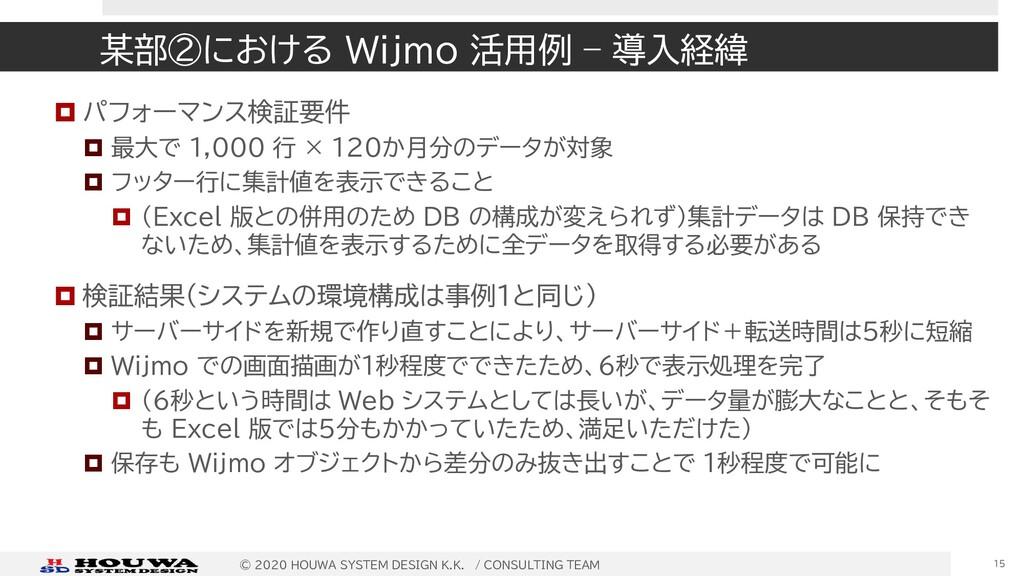 某部②における Wijmo 活用例 – 導入経緯  パフォーマンス検証要件  最大で 1,...