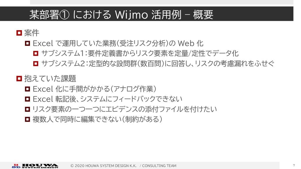某部署① における Wijmo 活用例 – 概要  案件  Excel で運用していた業務...
