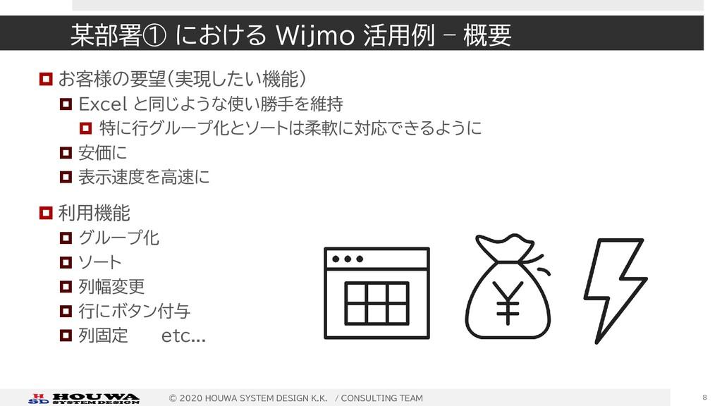 某部署① における Wijmo 活用例 – 概要  お客様の要望(実現したい機能)  Ex...