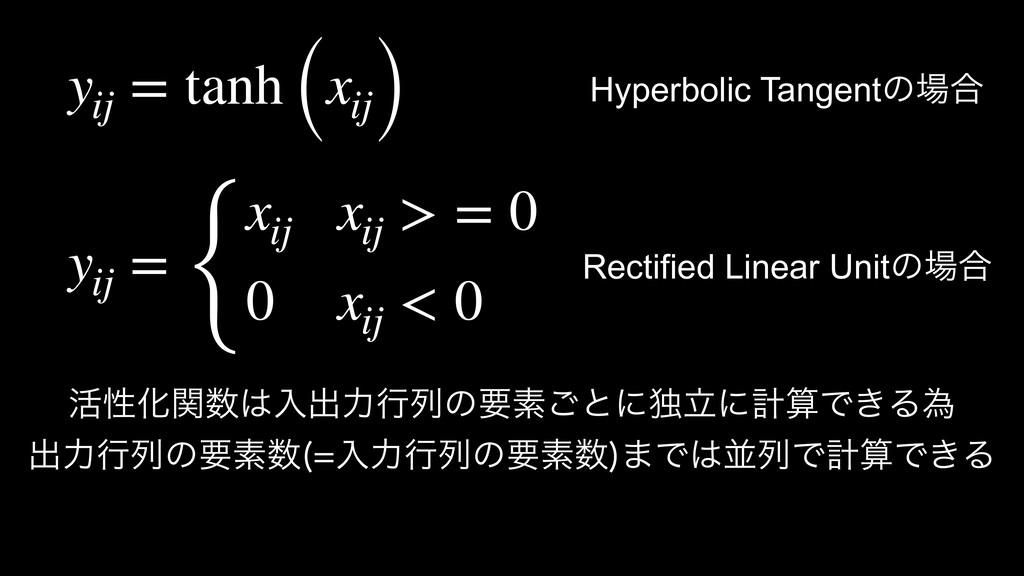 yij = tanh (xij) ׆ੑԽؔೖग़ྗߦྻͷཁૉ͝ͱʹಠཱʹܭͰ͖Δҝ ग़ྗ...