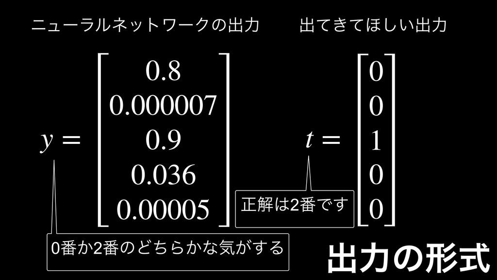 ग़ྗͷܗࣜ t = 0 0 1 0 0 y = 0.8 0.000007 0.9 0.036 ...