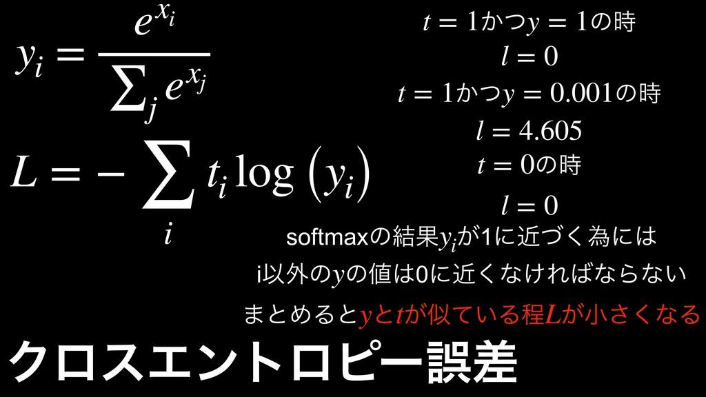 ΫϩεΤϯτϩϐʔޡࠩ ! ͔ͭ! ͷ t = 1 y = 1 !l = 0 ! ͔ͭ! ͷ...