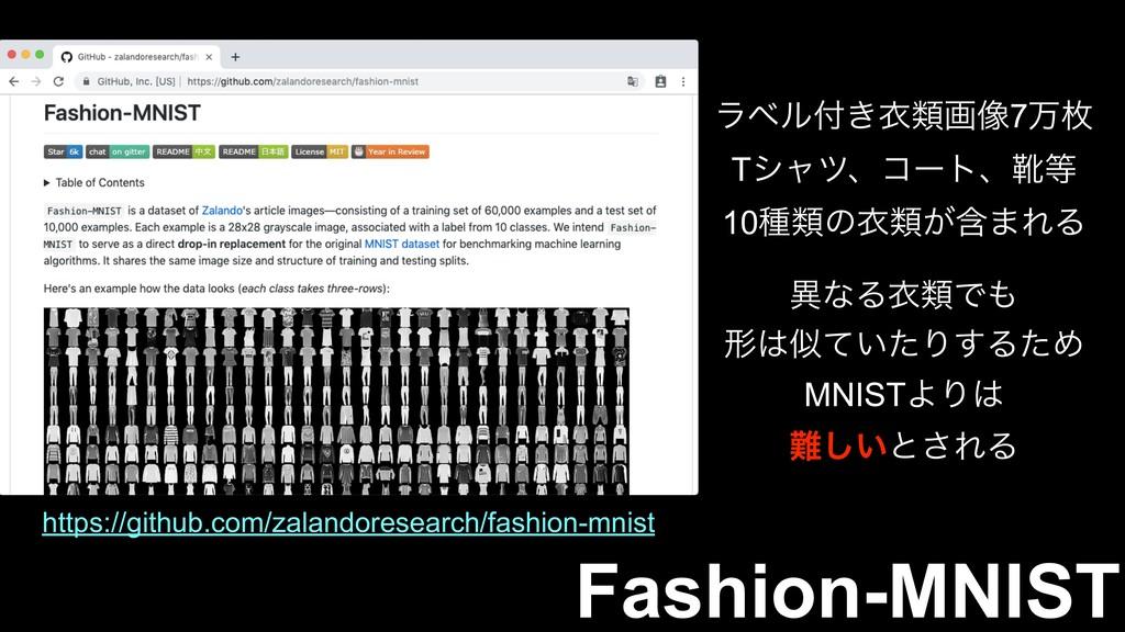 Fashion-MNIST ϥϕϧ͖ҥྨը૾7ສຕ Tγϟπɺίʔτɺۺ 10छྨͷҥྨ͕...