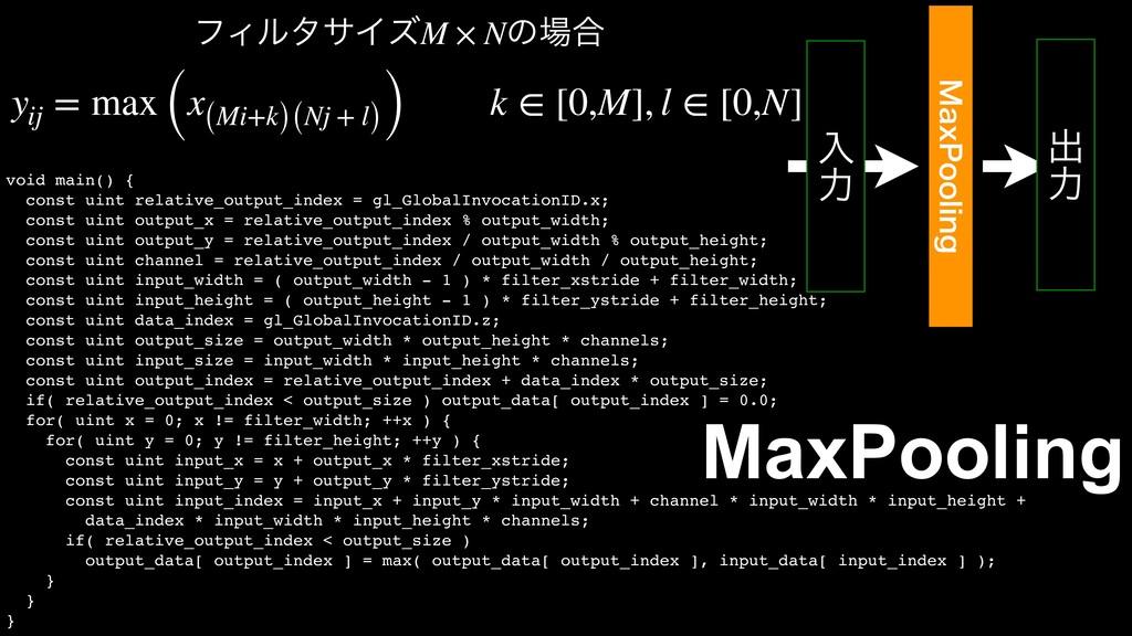 ೖ ྗ .BY1PPMJOH ग़ ྗ MaxPooling void main() { con...