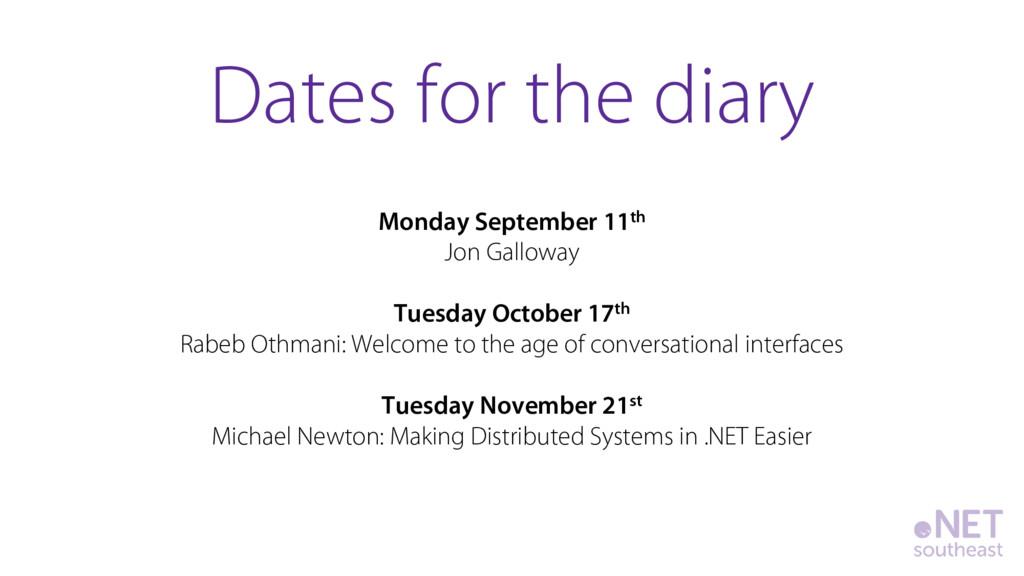 Monday September 11th Jon Galloway Tuesday Octo...