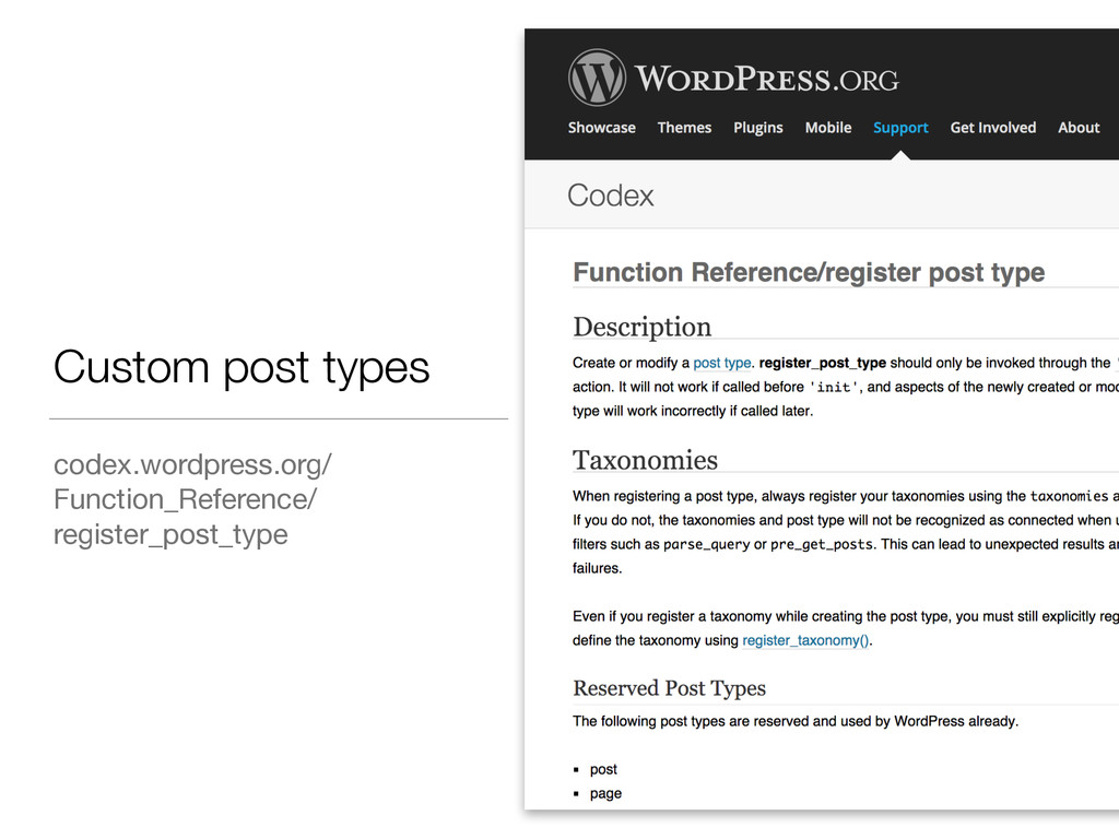 Custom post types codex.wordpress.org/ Function...