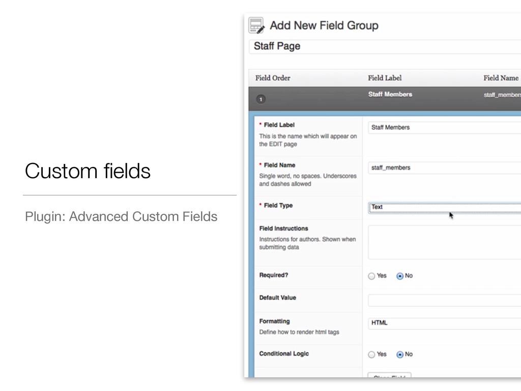 Custom fields Plugin: Advanced Custom Fields