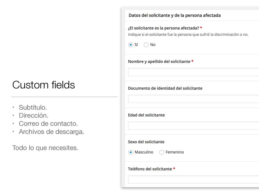 Custom fields • Subtítulo.  • Dirección.  • Corr...