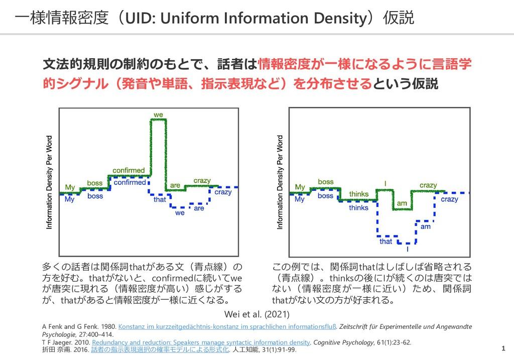 一様情報密度(UID: Uniform Information Density)仮説 1 A ...
