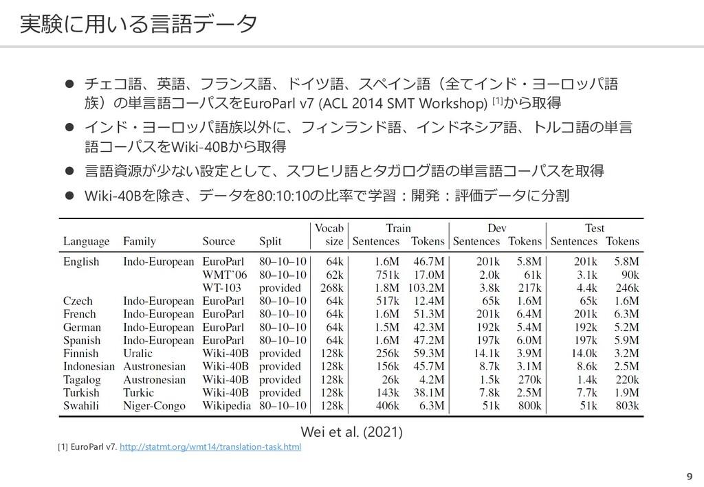 実験に用いる言語データ 9 Wei et al. (2021)  チェコ語、英語、フランス語...