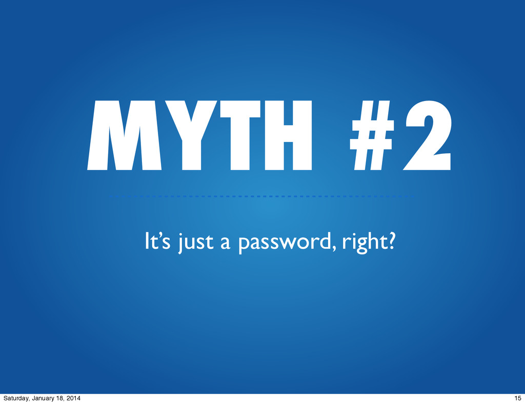 MYTH #2 It's just a password, right? 15 Saturda...