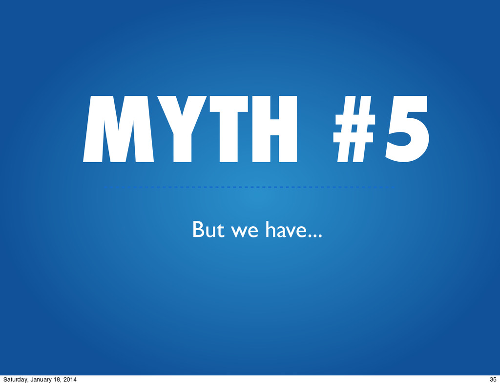 MYTH #5 But we have... 35 Saturday, January 18,...