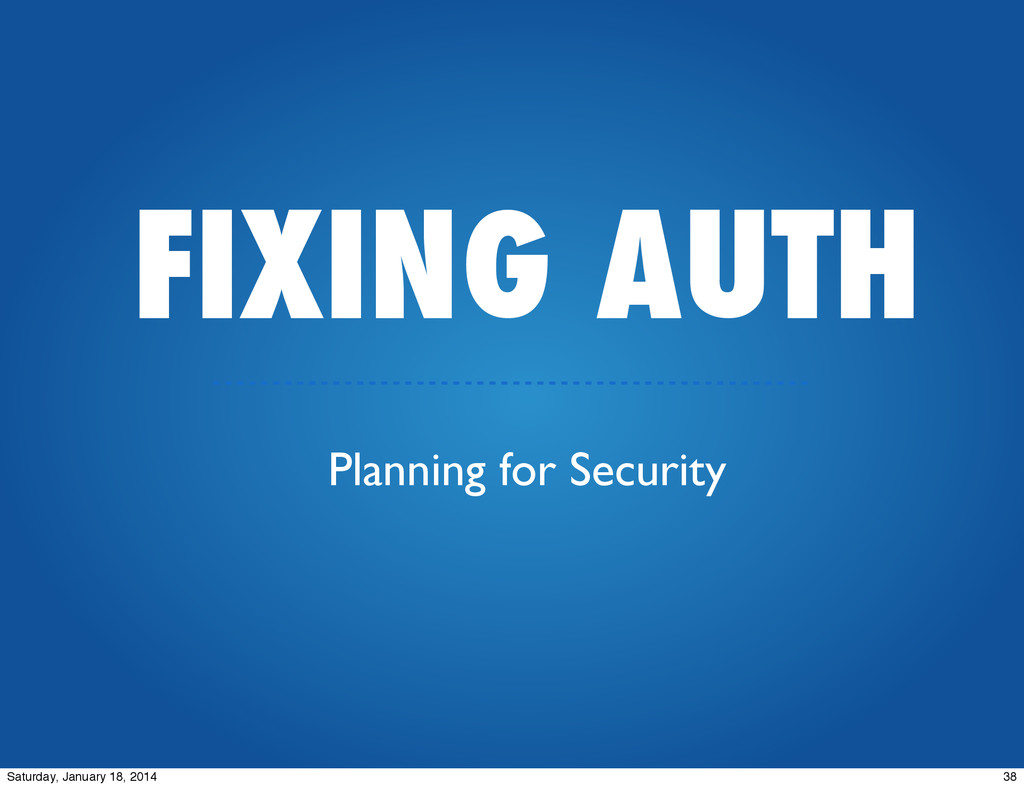 FIXING AUTH Planning for Security 38 Saturday, ...