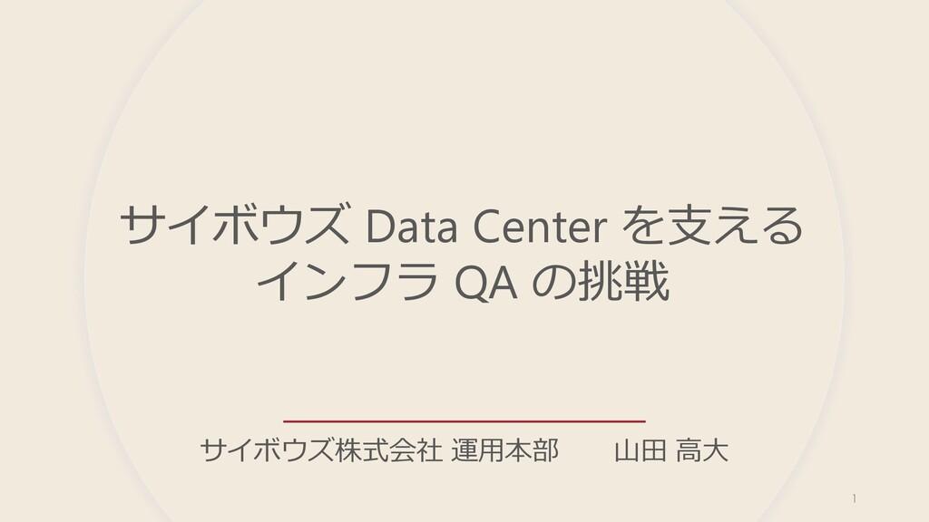 サイボウズ Data Center を⽀える インフラ QA の挑戦 サイボウズ株式会社 運⽤...