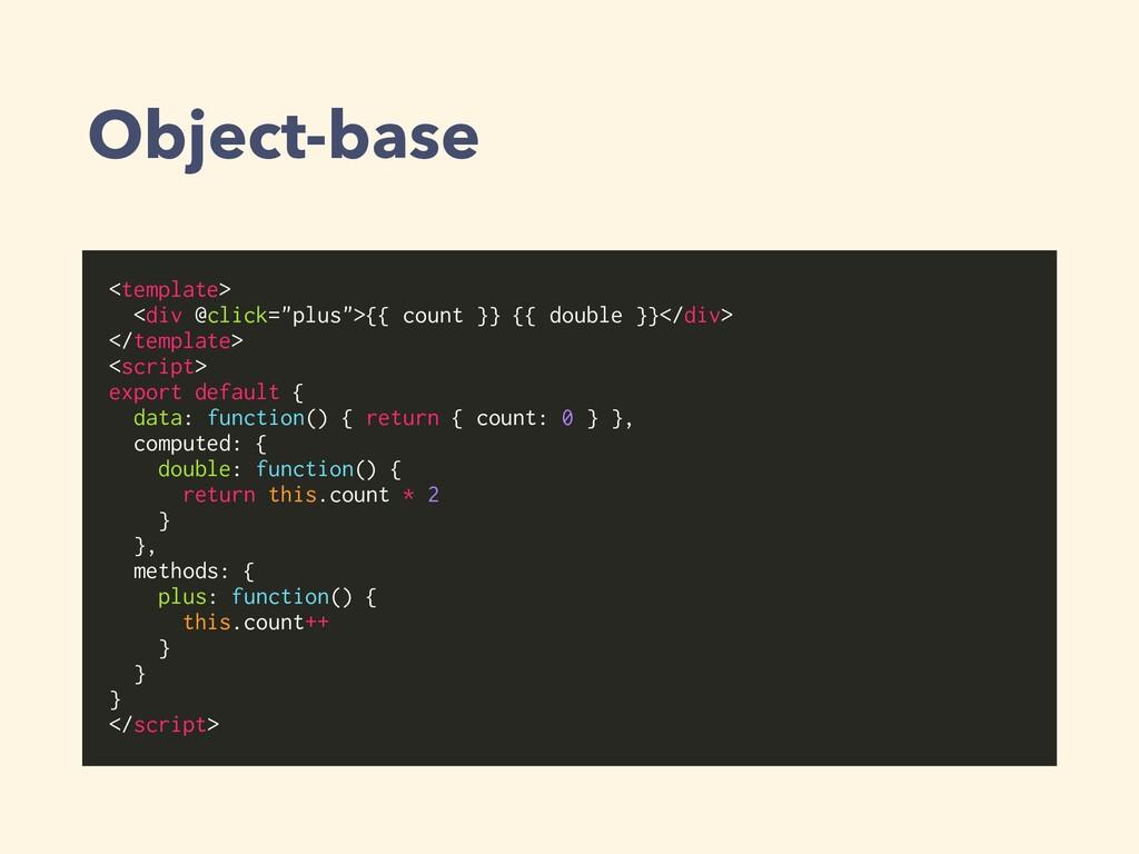 "Object-base <template> <div @click=""plus"">{{ co..."