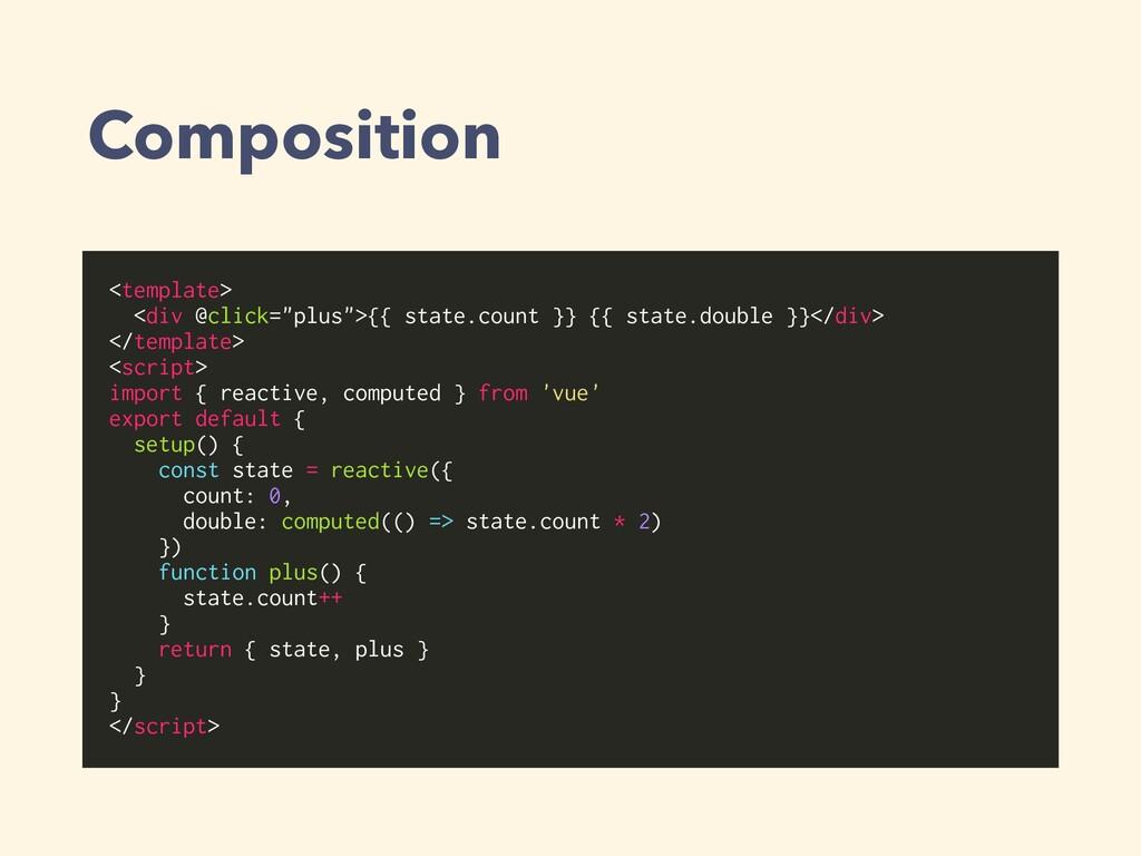 """Composition <template> <div @click=""""plus"""">{{ st..."""