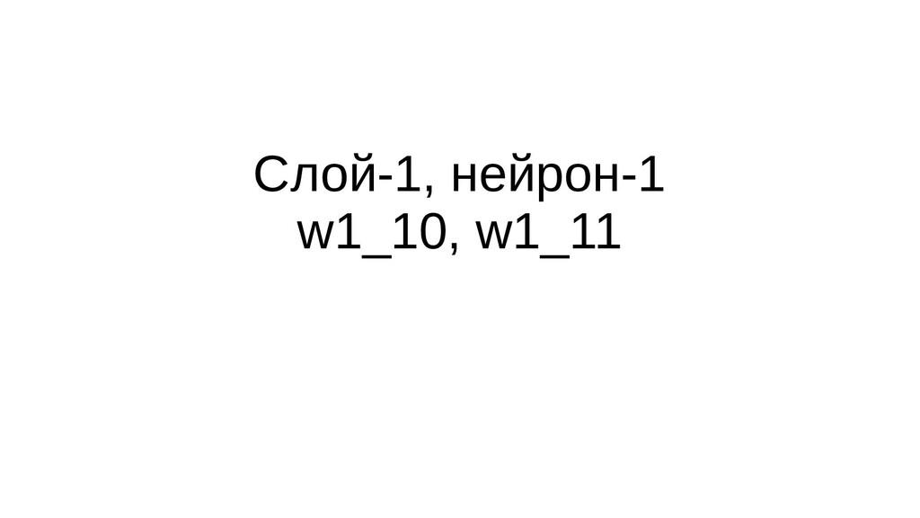 Слой-1, нейрон-1 w1_10, w1_11