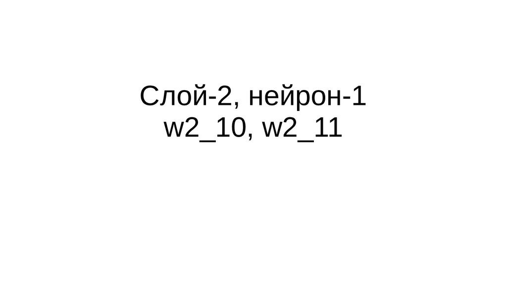 Слой-2, нейрон-1 w2_10, w2_11