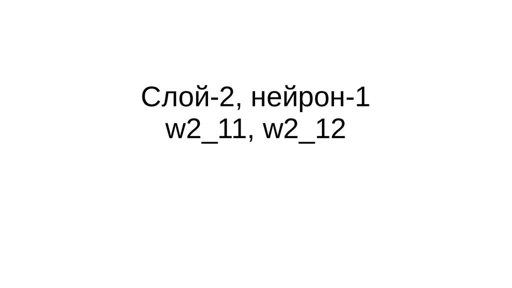 Слой-2, нейрон-1 w2_11, w2_12