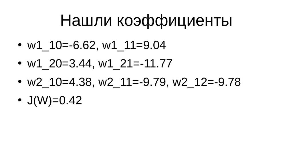 Нашли коэффициенты ● w1_10=-6.62, w1_11=9.04 ● ...