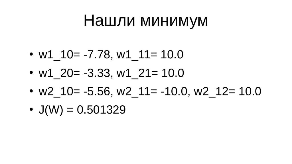 Нашли минимум ● w1_10= -7.78, w1_11= 10.0 ● w1_...