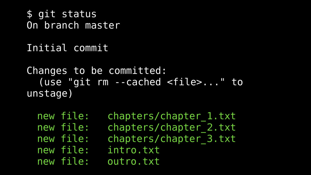 $ git status On branch master Initial commit Ch...