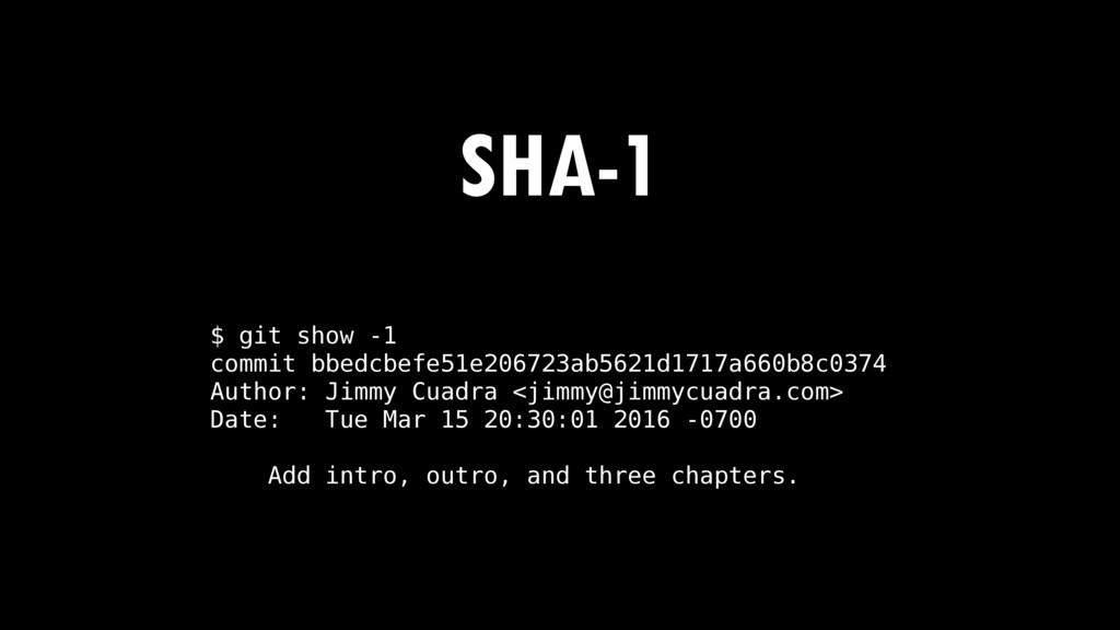 SHA-1 $ git show -1 commit bbedcbefe51e206723ab...