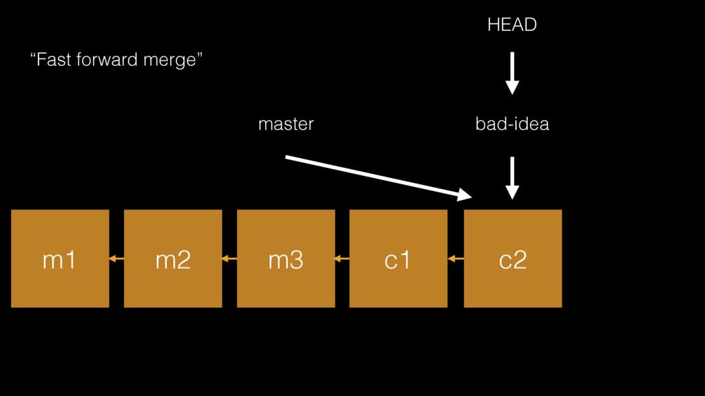 """m1 m2 m3 master HEAD bad-idea c1 c2 """"Fast forwa..."""
