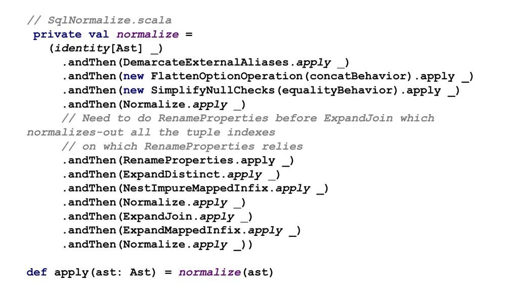 // SqlNormalize.scala private val normalize = (...