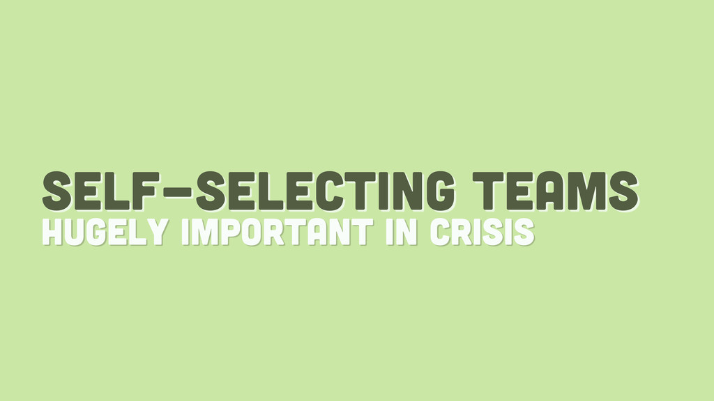 self-selecting teams hugely important in crisis