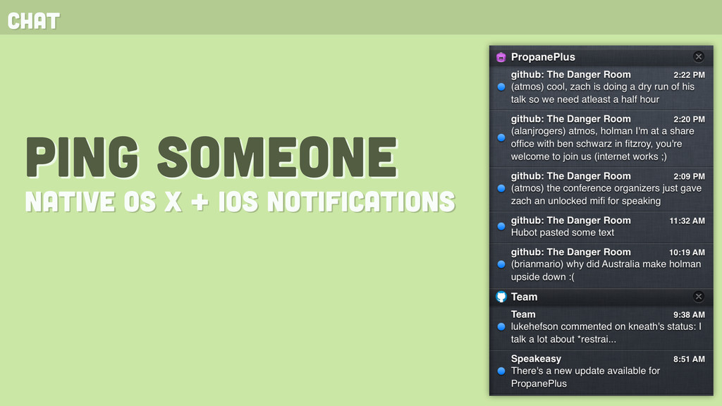 chat ping someone native OS X + ios notificatio...
