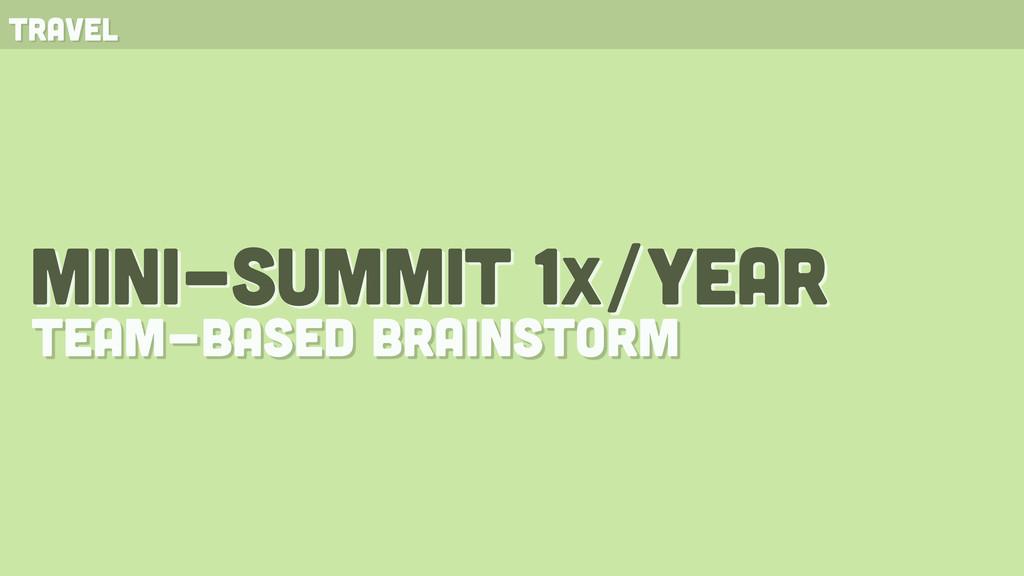 mini-summit 1x/year team-based brainstorm travel