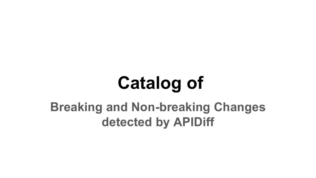 Catalog of Breaking and Non-breaking Changes de...