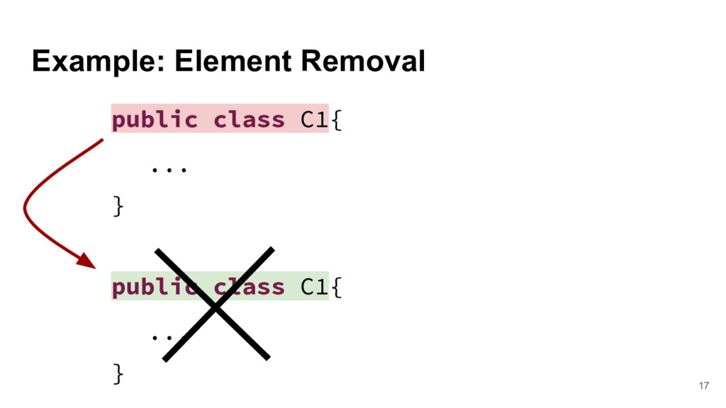 Example: Element Removal 17 public class C1{ .....