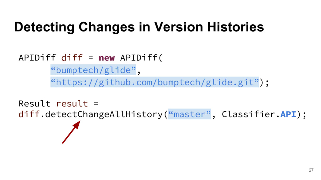 Detecting Changes in Version Histories 27 APIDi...