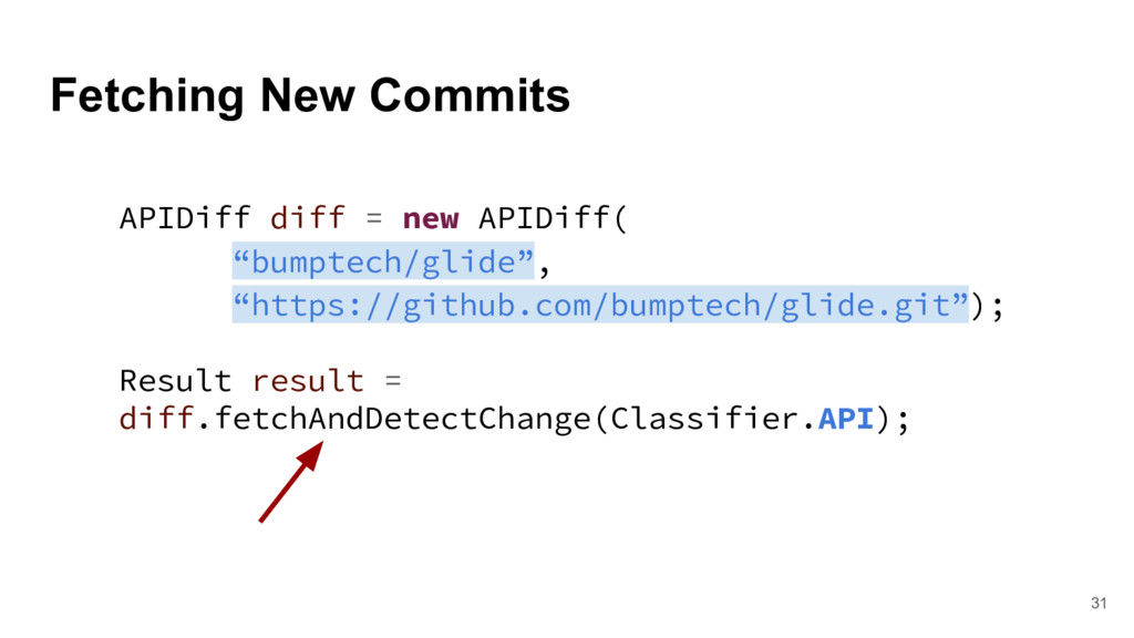 Fetching New Commits 31 APIDiff diff = new APID...