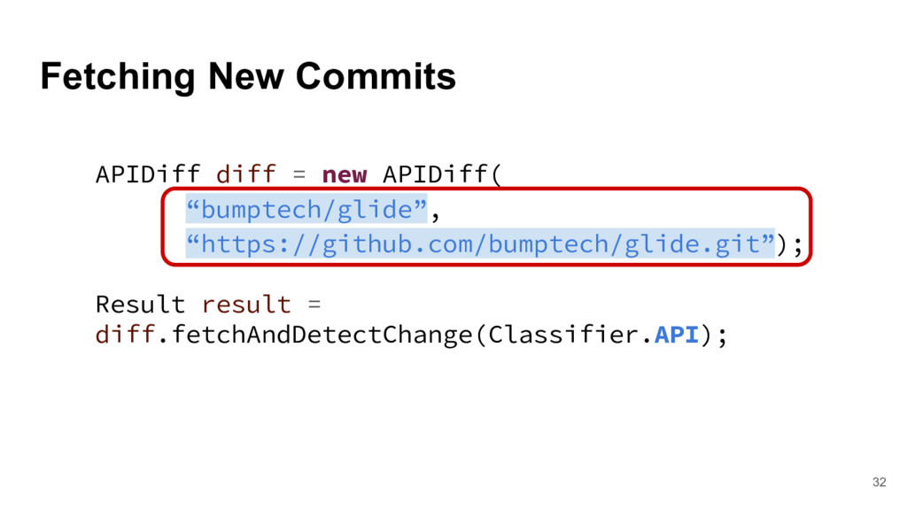 Fetching New Commits 32 APIDiff diff = new APID...