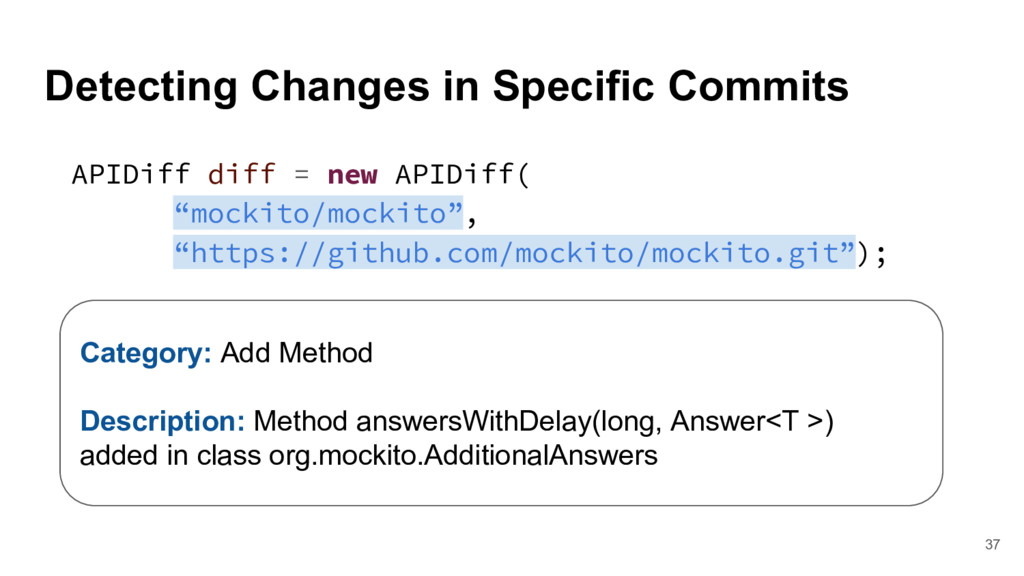 Detecting Changes in Specific Commits 37 APIDif...