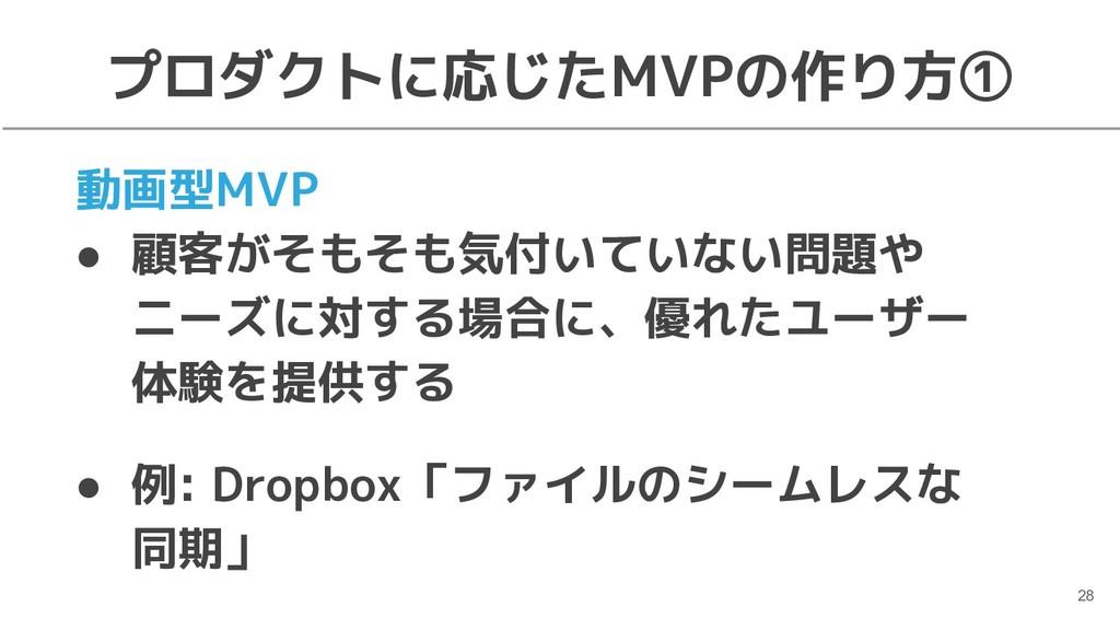 プロダクトに応じたMVPの作り方① 動画型MVP ● 顧客がそもそも気付いていない問題や ニー...