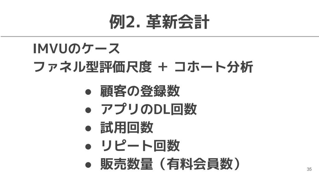 例2. 革新会計 IMVUのケース ファネル型評価尺度 + コホート分析 35 ● 顧客の登録...