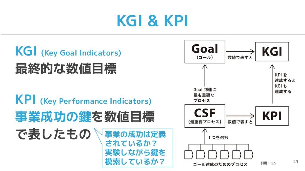 KGI & KPI 49 KGI (Key Goal Indicators) 最終的な数値目標...