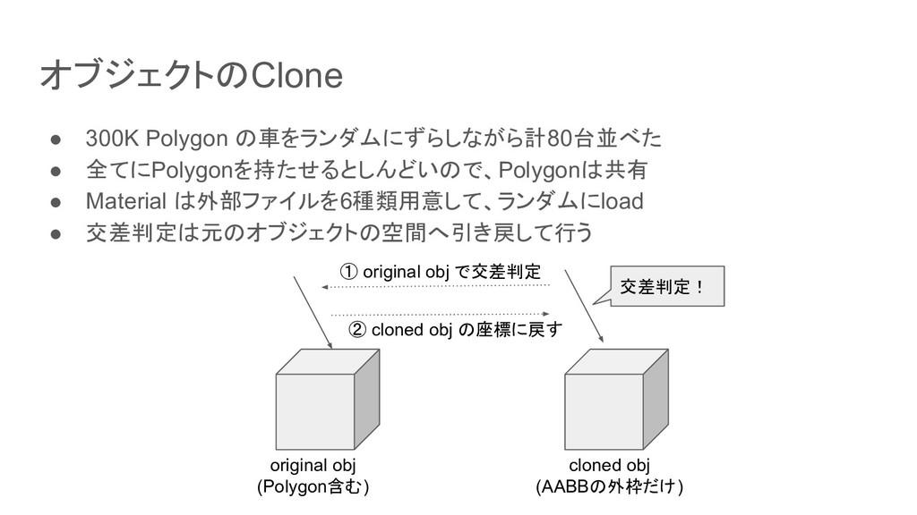 オブジェクトのClone ● 300K Polygon の車をランダムにずらしながら計80台並...
