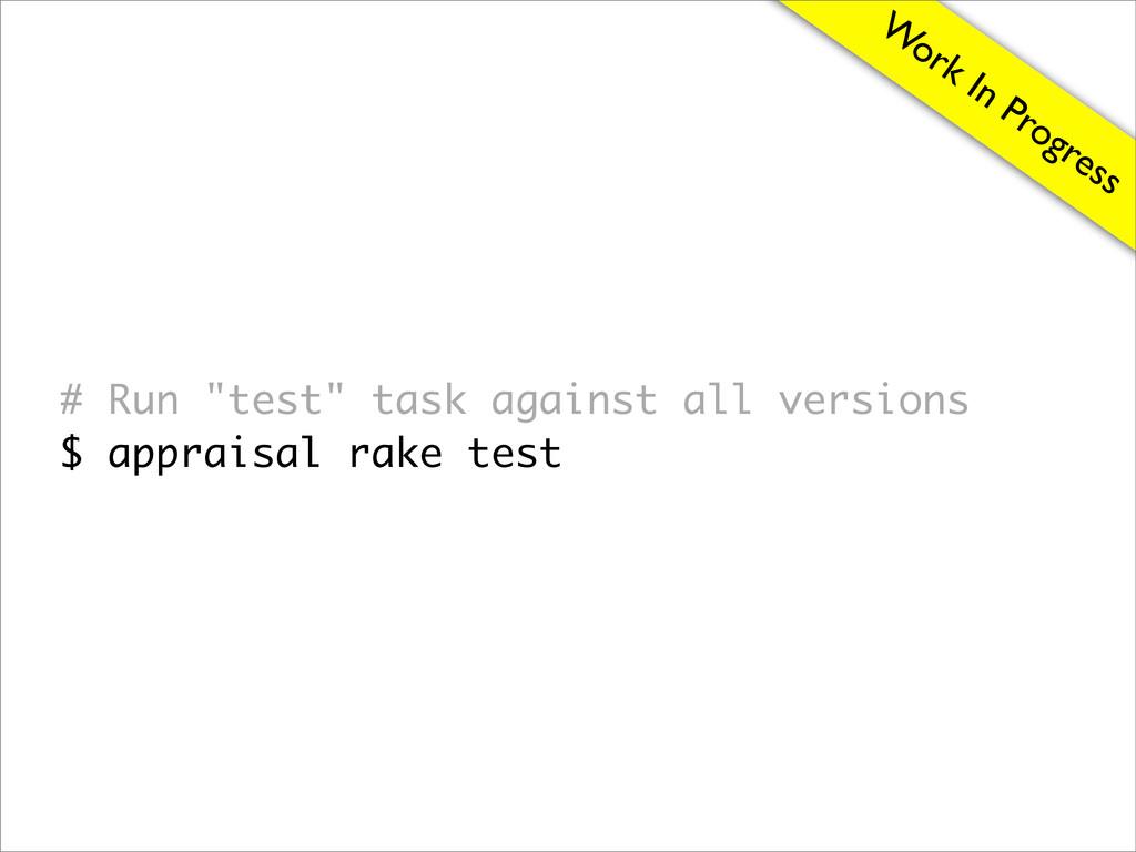 "W ork In Progress # Run ""test"" task against all..."