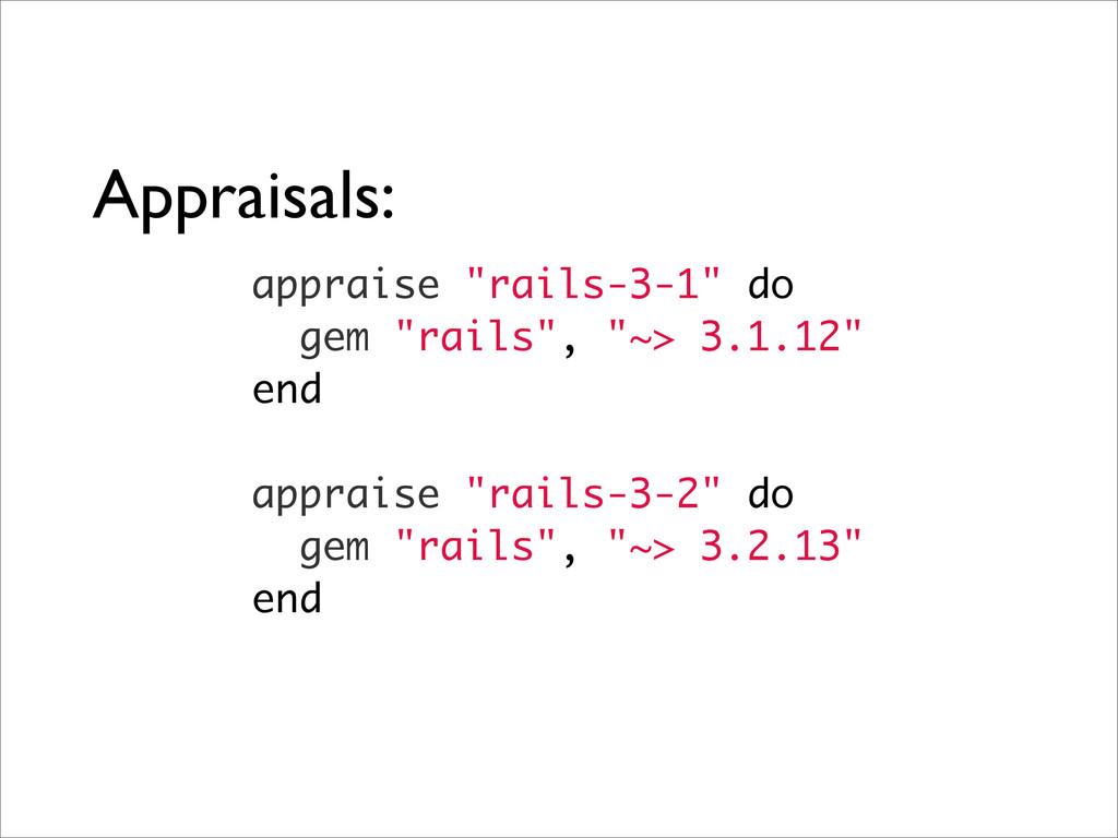 """Appraisals: appraise """"rails-3-1"""" do gem """"rails""""..."""