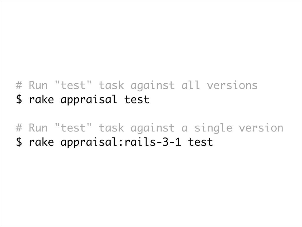 """# Run """"test"""" task against all versions $ rake a..."""