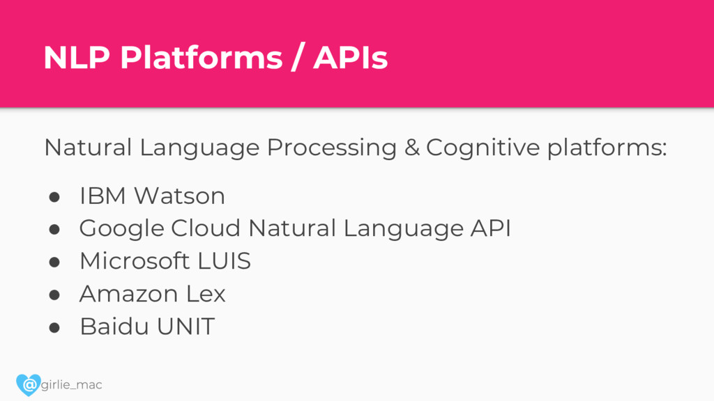 @ NLP Platforms / APIs Natural Language Process...