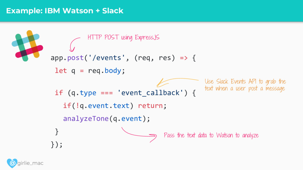 @ Example: IBM Watson + Slack app.post('/events...