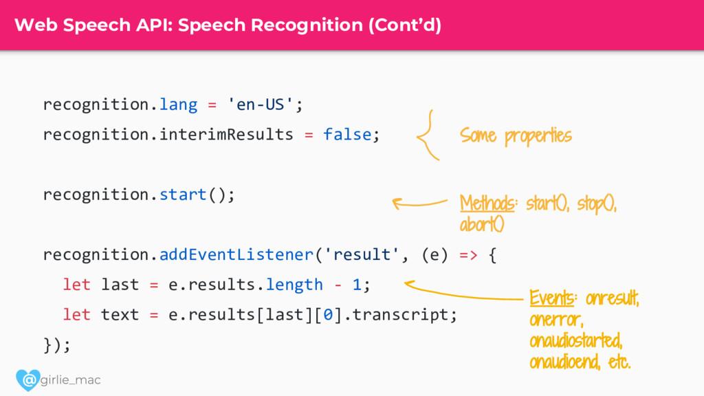 @ Web Speech API: Speech Recognition (Cont'd) r...