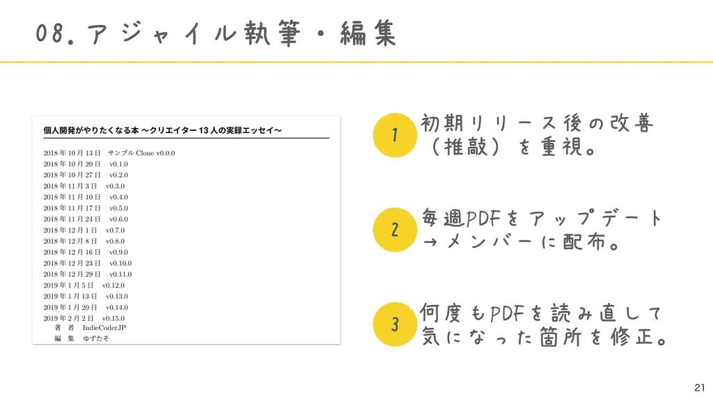 初期リリース後の改善 (推敲)を重視。 毎週PDFをアップデート →メンバーに配布。 何度...